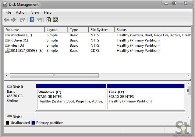 Disk Management Windows 7