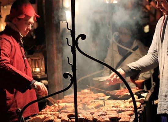 德國,德勒斯登聖誕市集,傳統烤肉攤