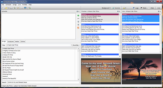 EasyWorship 2009 Build 2.4 Interface