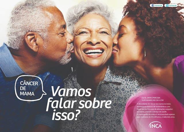 Banner da Campanha do Outubro Rosa com duas mulheres e um homem felizes