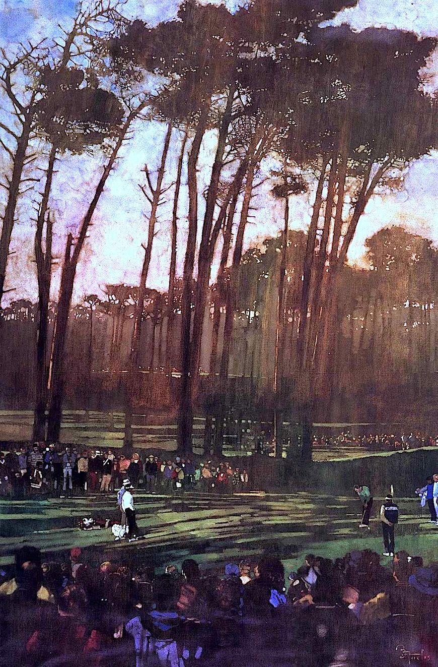 a Bernie Fuchs color illustration of pro golf