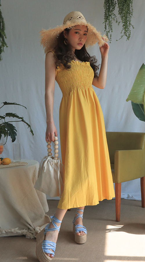 Shirred Sleeveless Dress