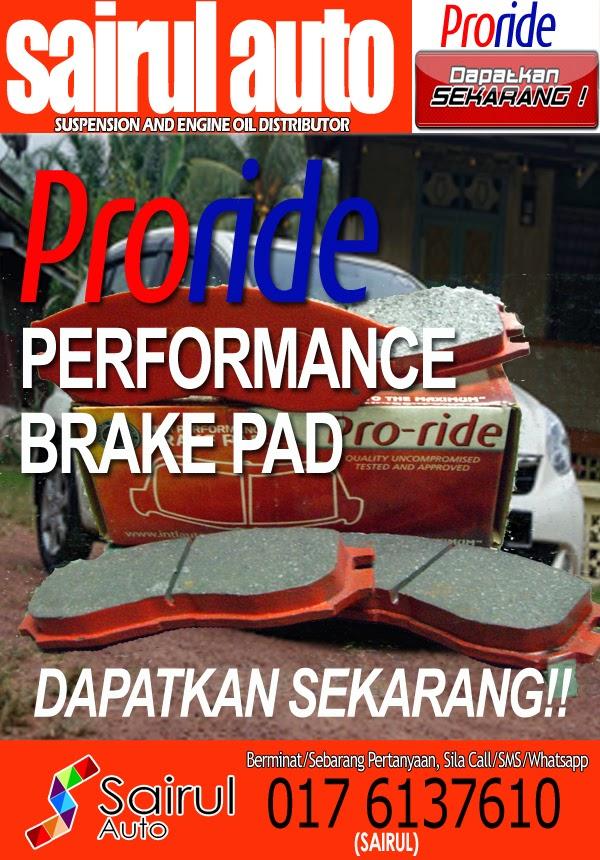 PRORIDE PERFORMANCE BRAKE PAD DAPATKAN SEKARANG!!   PRORIDE