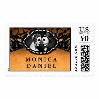 Orange & Black Elegant Halloween Skeletons Custom Bride & Groom Names Wedding Stamp