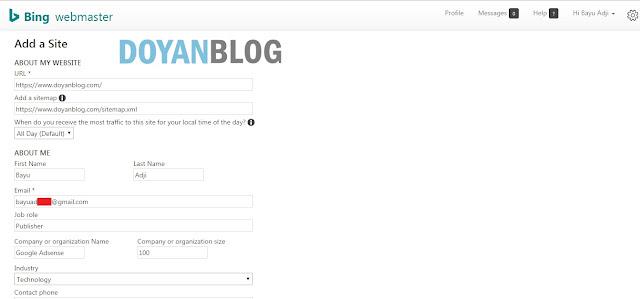 cara mendaftarkan blog di bing dan yahoo search