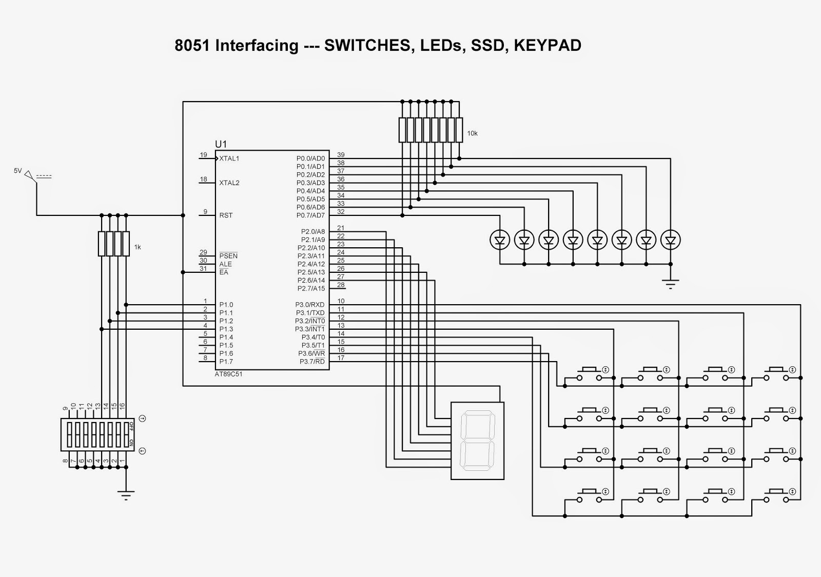 Technical Knowledge Overview 8051 Interfacing With Led Switch Wiringpi Mcp3008 C Multiple Hardware To Microcontroller