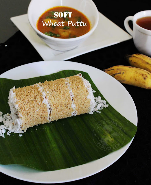 puttu indian kerala style healthy breakfast with wheat flour