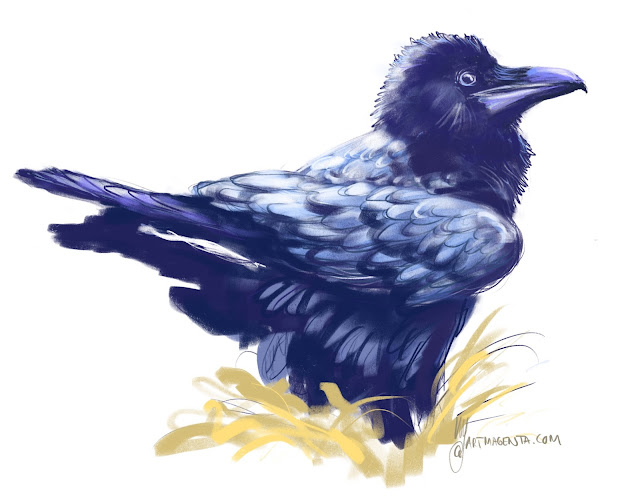 Raven a bird painting by Artmagenta