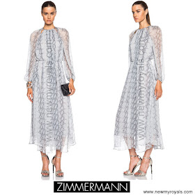 Crown Princess Mary Style ZIMMERMANN Seer Snake Dress and GIANVITO ROSSI Crackled Pumps