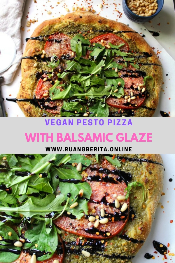 Vegan Pesto Pizza with Balsamic Glaze #dinner #appetizer #vegan #pesto #pizza #balsamic #glaze