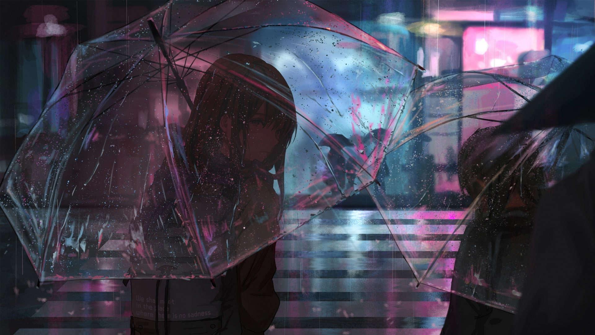 Gambar anim payung sendirian