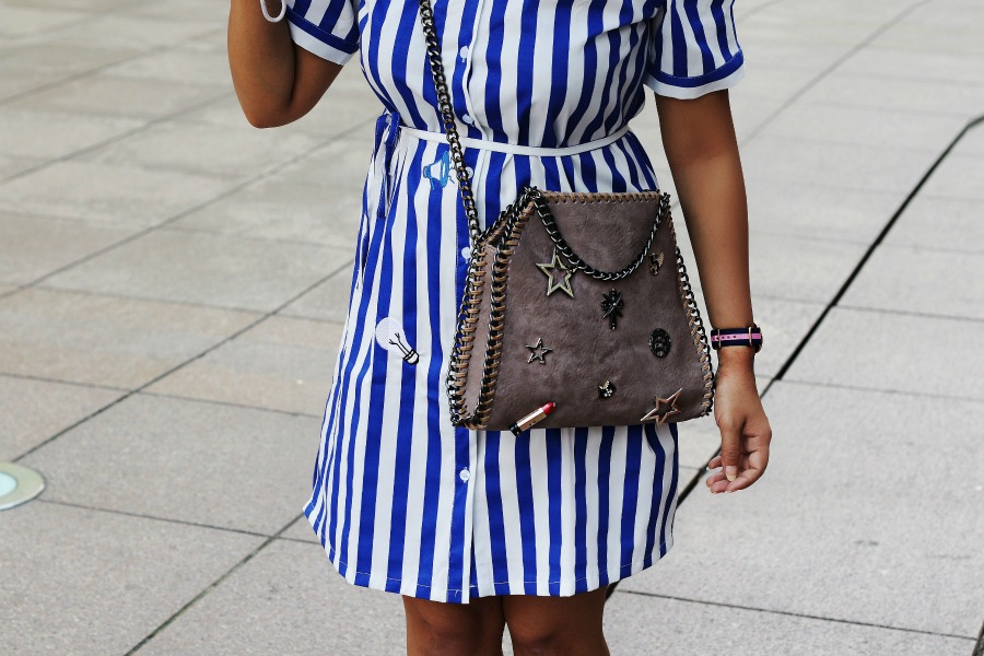 Off Shoulder Striped Top - OOTD - Buy Online dress at koovs, amazon, asos stella mccartney bag