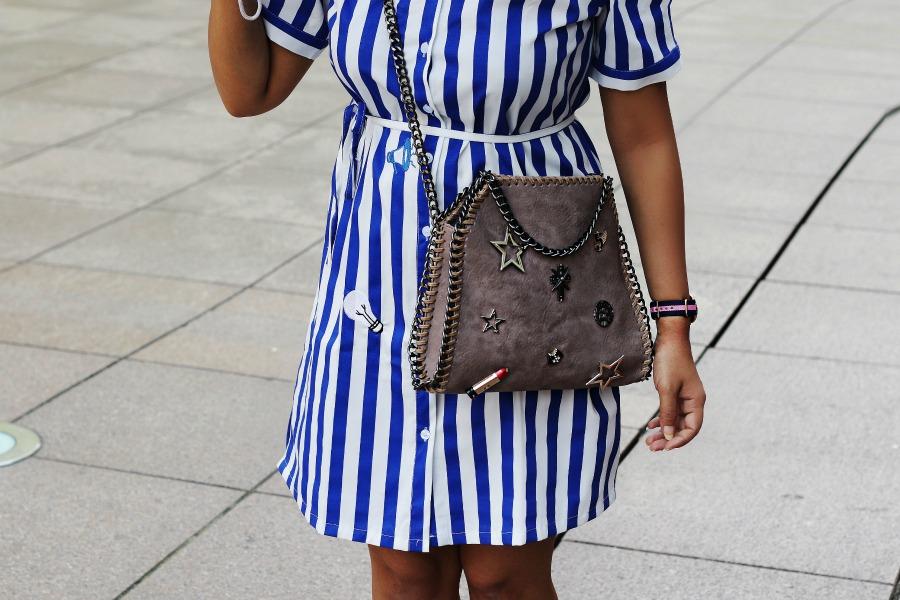 Off Shoulder Striped Top - OOTD - Buy Online dress at koovs, amazon, asos stella mccartney bag