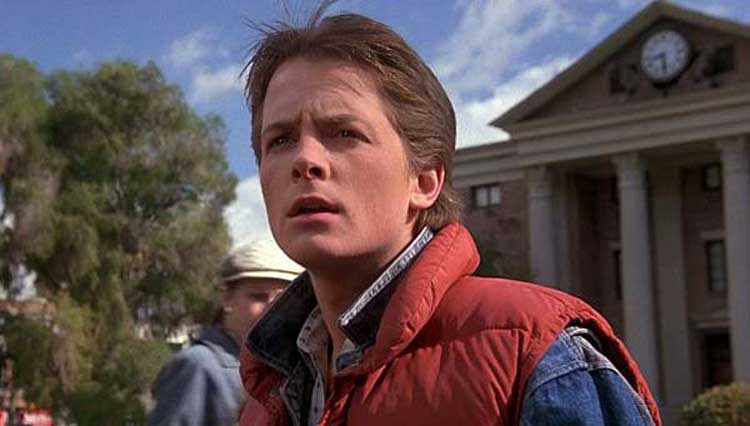 Marty McFly (Michael J. Fox) returns to 1955 in Back to the Future.