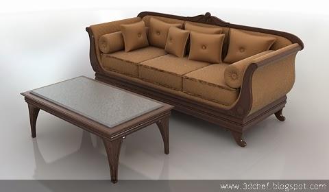 free 3d model classic sofa