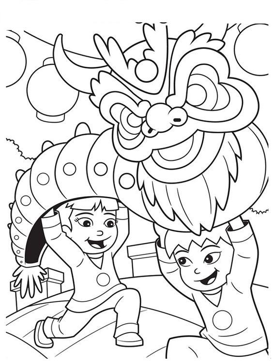 Tranh tô màu ngày Tết trung thu trẻ em múa rồng