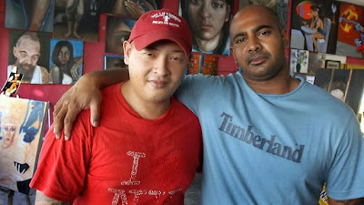 Andrew Chan (left) with Myuran Sukumaran