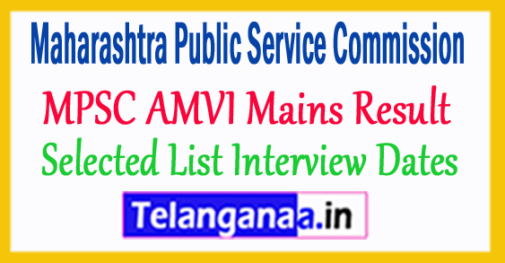 MPSC AMVI Mains Result 2018 Selected List Interview Dates