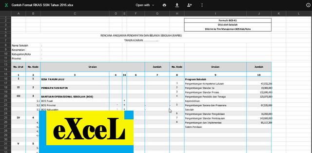 Contoh Format RKAS SSN Tahun 2016 Format Excel