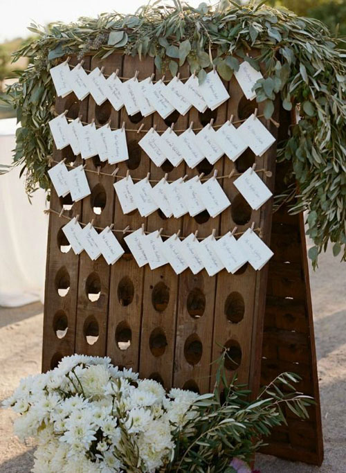 décoration mariage thème vin casier bouteille plan de table