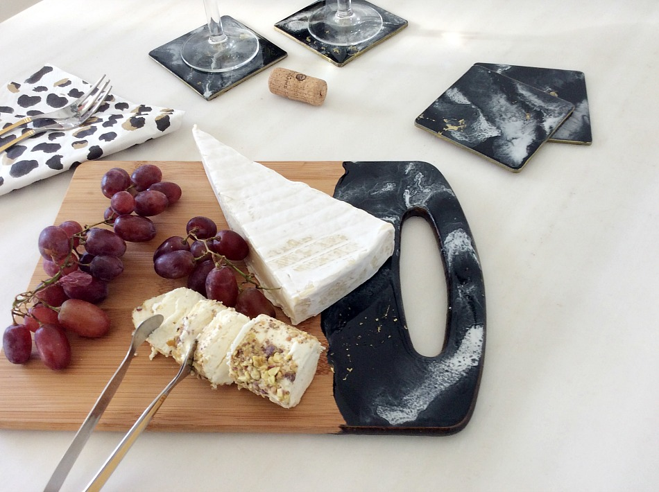 Black, white, gold resin coasters, serving board, diy, grapes, brie cheese