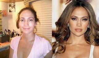 fotos de famosos antes e depois da maquiagem - jennifer lopez