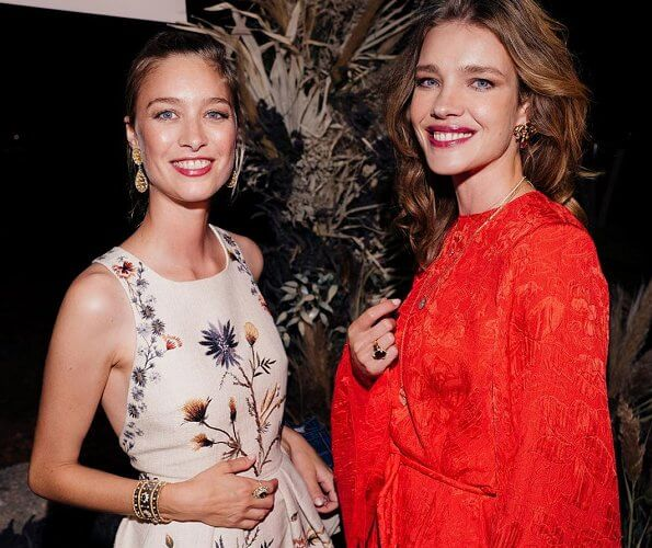 Beatrice Borromeo wore a floral print dress from Christian Dior Spring 2020 ready-to-wear collection