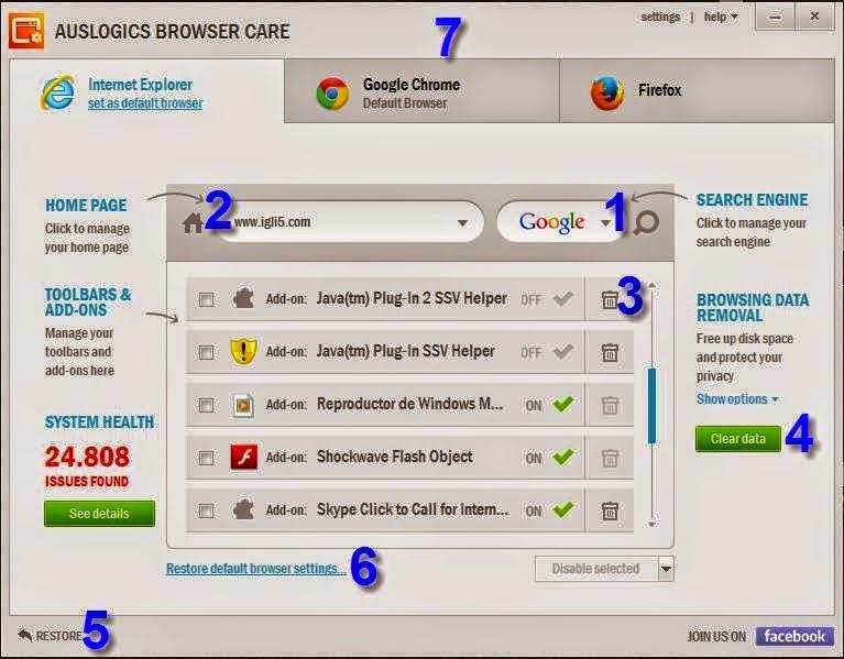 برنامج قوي للتحكم في المتصفحات عبر تنظيفها وتسريعها وإزالة التولبار وكلمات السر المحفوظة