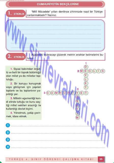 4. Sınıf Türkçe Çalışma Kitabı Cevapları Doku Yayınları Sayfa 35
