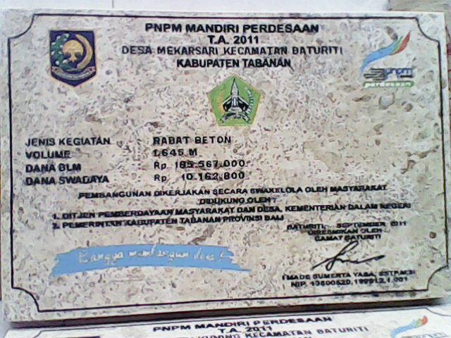 PRASASTI GRANIT-MARMER: PRASASTI MARMER DARI PNPM TABANAN