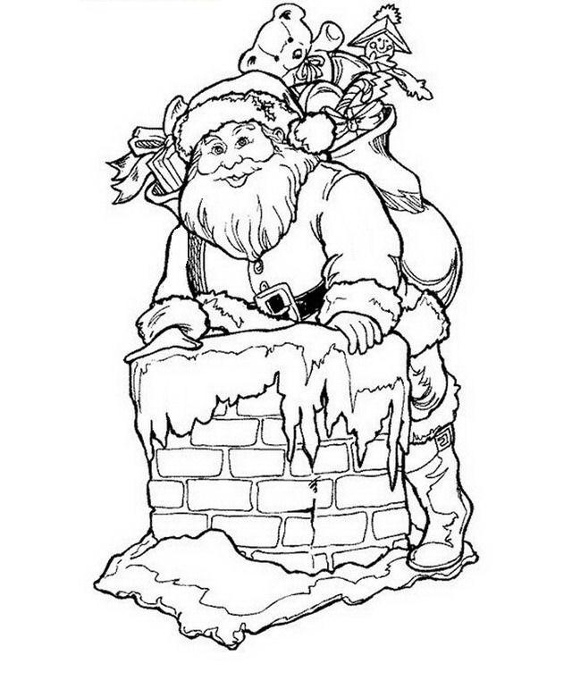 Santa Claus Entrando Por Chimenea Par Colorear Y Pintar