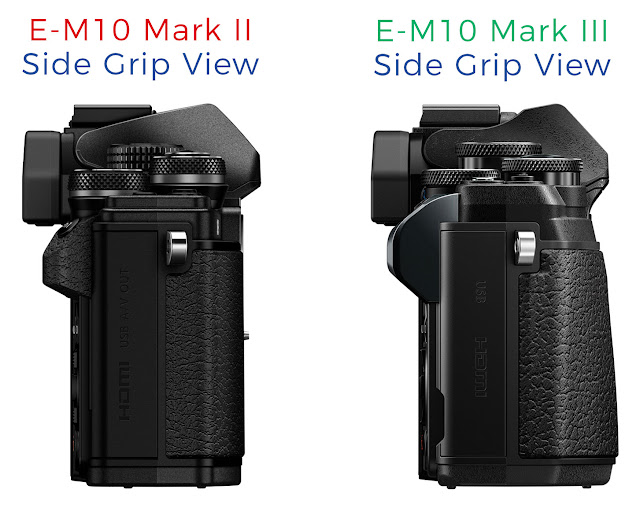 side-by-side comparison of the Olympus E-M10 Mark III and E-M10 Mark II side view showing the newer grip