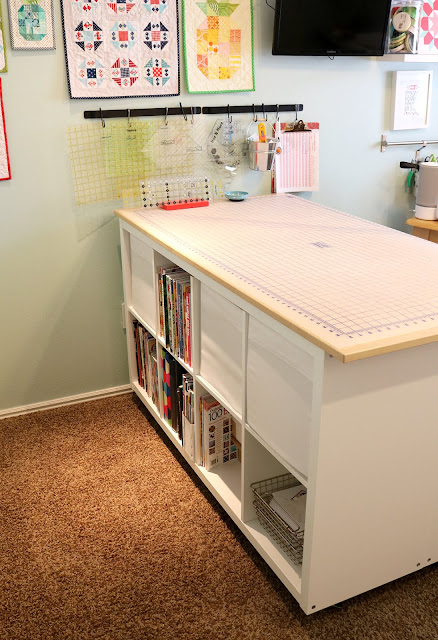 Cutting Table IKEA hack DIY - I would love to have all of that storage!