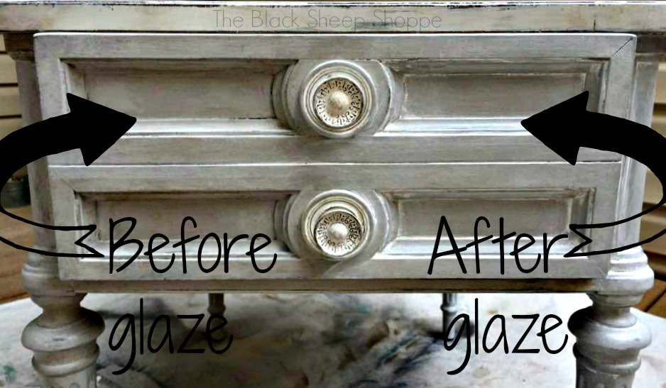 Comparison of before and after white glaze.