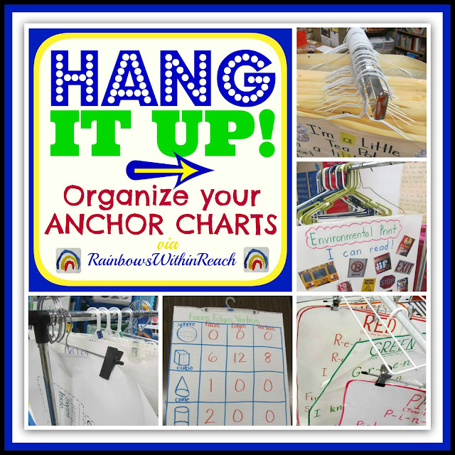 photo of: Anchor Charts on Hangers! Organization and Collection of Anchor Charts: RoundUP at RainbowsWithinReach