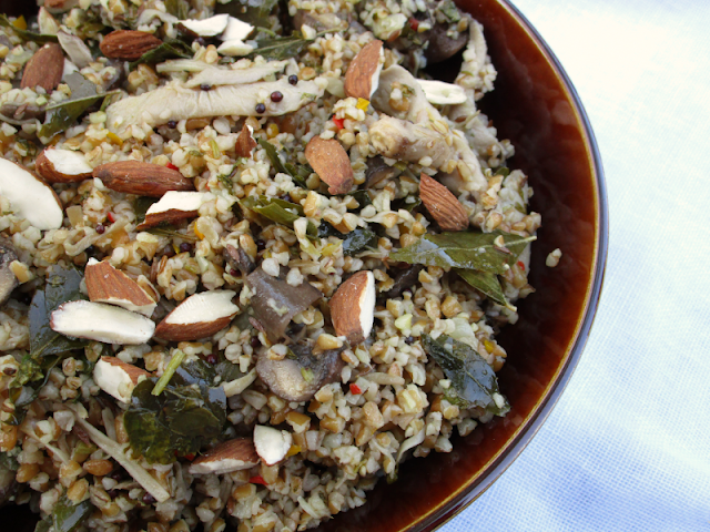 Bulgar Wheat and Mixed Mushroom Pilaf with Cilantro Chutney