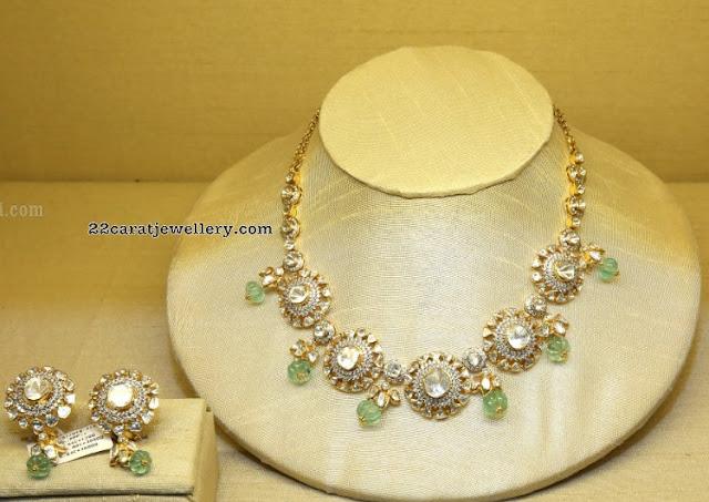 Polki Choker with Pumpkin Shape Beads