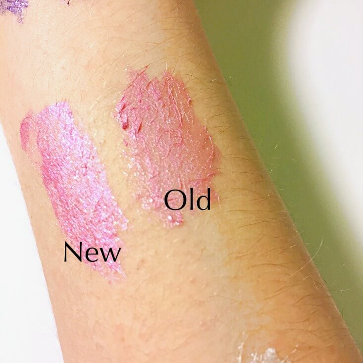 wet n wild megaliner Metallic Liquid Eyeliner Too Cute to Spook vs Pink Coffin swatches