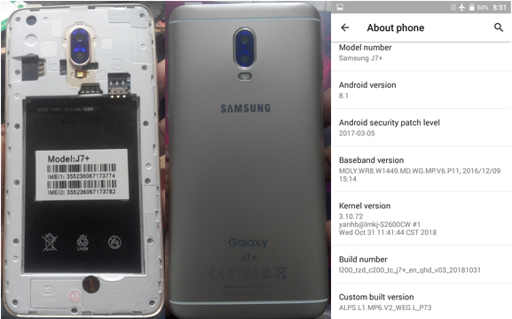 Samsung Clone J7+ Flash File MT6580 8 1 Free Without Password No