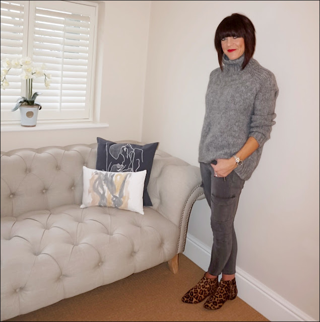 My Midlife Fashion, Zara chunky knit roll neck jumper, zara military combat trousers, boden leopard print ankle boots