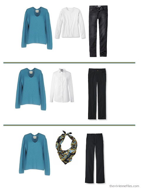 3 ways to wear a turquoise sweater
