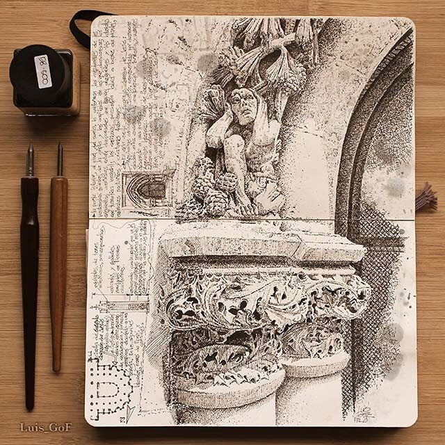 03-Stone-Architectural-Details-Luis-Gómez-Feliu-Elucubros-Urban-Sketches-and-Interior-Architectural-Drawings-www-designstack-co