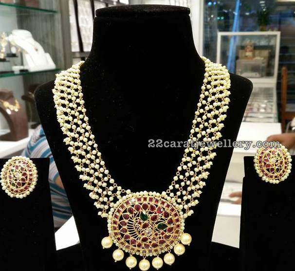 f451c3313f8341 Light Weight Pearl Necklace with Ruby Pendant - Jewellery Designs