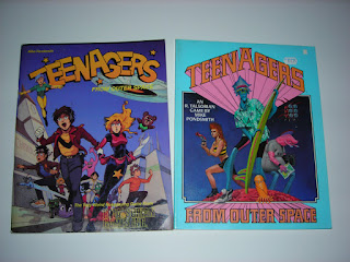Cover of two editions of Teenagers from Outer Space, a role-playing game by R. Talsorian Games.