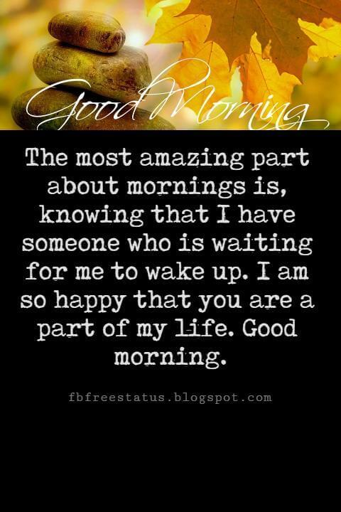Sweet Good Morning Messages, The most amazing part about mornings is, knowing that I have someone who is waiting for me to wake up. I am so happy that you are a part of my life. Good morning my dear.