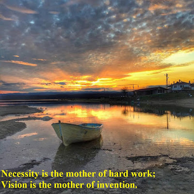 Necessity is the mother of hard work; vision is the mother of invention.