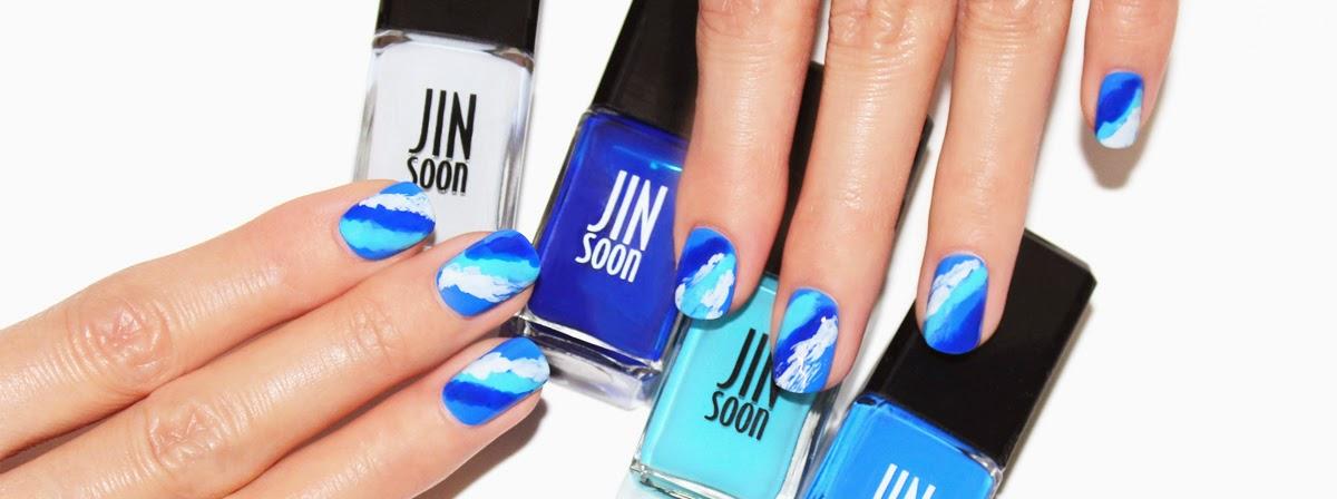 Diy Blue Wavy Nail Art