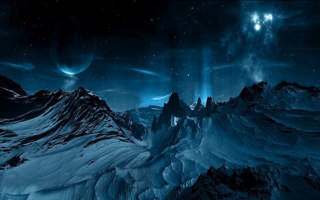 Wallpapers Montañas Nevadas: Montañas Nevadas Y Aurora Azul