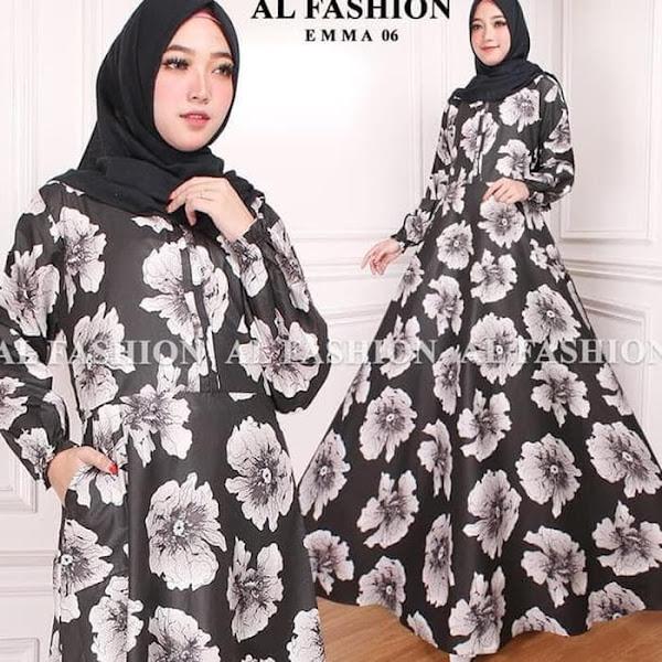 Baju Muslim Wanita Gamis Katun Motif Bunga Hitam Putih Baju