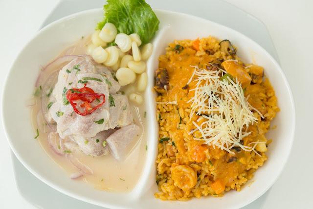 ceviche  arroz con mariscos